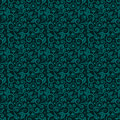 Seamless swirly floral background of dark turquoise winter holidays colors Royalty Free Stock Photo
