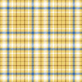 Seamless tartan plaid pattern in white, blue & brown twill stripes on golden sand yellow undercheck background. Royalty Free Stock Photo