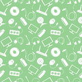 Seamless technology vector pattern, chaotic background with white icons of PC, monitor, headphones, disc, router, socket, battery