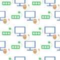 Seamless technology vector pattern, symmetrical background with colorful icons of monitor, PC mouse and fuse, over light backdrop Royalty Free Stock Photo