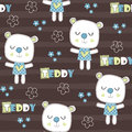 Seamless teddy bear pattern vector illustration