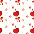 A seamless template with apples candy balls and ribbons illustration of on white background Stock Photos