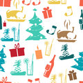 Seamless textile pattern for a Christmas theme flat style Royalty Free Stock Photo