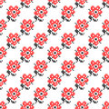 Seamless texture with abstract embroidered red flowers Royalty Free Stock Photo