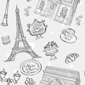Seamless texture in black outline with the image of the Eiffel Tower, France, and other items Royalty Free Stock Photo