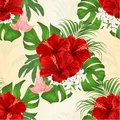 Seamless texture bouquet with tropical flowers floral arrangement, with beautiful red hibiscus, palm,philodendron and Brugmansia