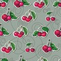 Seamless texture with bright cherries on a gray ba Stock Image