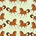 Seamless  texture chestnut horses vector Royalty Free Stock Photo