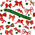Seamless texture with Chrestmas red bows Stock Image