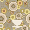 Seamless texture with circles and cup Stock Image