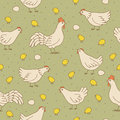 Seamless texture with cocks, hens and chicks. Royalty Free Stock Photo