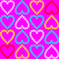 Seamless texture of colorful hearts vector patter background with on valentines day Royalty Free Stock Photo