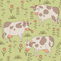 Seamless texture with cows bull and flowers in th the style of cartoon pattern can be used for wallpaper pattern fills Stock Image