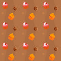 Seamless texture  - cupcakes and chocolate Sweets Stock Photos