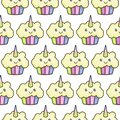 Seamless texture with cute, kawaii posed rainbow unicorn. Vector template for textiles, fabrics, wrapping paper.