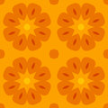 Seamless texture with cute stylized flowers in warm orange