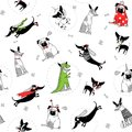 seamless texture with drawings of funny dogs in different costumes, vector illustration