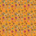 Seamless texture with flowers and figures Royalty Free Stock Photo