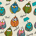Seamless texture with funny birds vector illustration eps Royalty Free Stock Photos