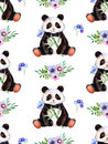Seamless texture with handpainted watercolor elements, multicolored triangles and cute Panda