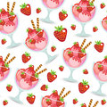 Seamless texture of ice cream dessert in a glass cup. Milk shake background. Kids Wallpaper sweet ice cream. Vector illustration.;