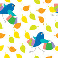 Seamless texture of leaves with birds Stock Photo