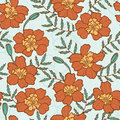 Seamless texture with marigold flowers endless floral pattern Royalty Free Stock Image