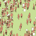 Seamless texture / pattern / background with demonstrating crowd in vintage colors Royalty Free Stock Photo