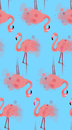 Seamless texture of pink flamingos with watercolor splashes
