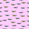 Seamless texture with pretty flying dragonfly on pink background Royalty Free Stock Photo