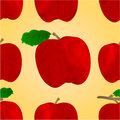 Seamless texture of a red apple with a leaf vector