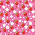 Seamless texture of strawberries Stock Photos