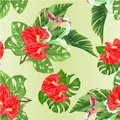 Seamless texture tropical flowers floral arrangement, with beautiful lilies Cala and anthurium and banana leaves and monstera vint