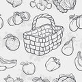 Seamless texture and vegetables, fruit and baskets
