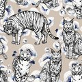 Seamless texture with wild cats in a beige background and white Anemones. Clipart for art work and weddind design
