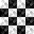 Seamless texture zodiac sign Virgo black and white drawing girl with flowers and plants in her hair