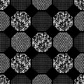 Seamless abstract retro geometric pattern. Patterned, textured hexagons in geometric layout.