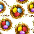 Seamless textured pattern of nests with eggs for Easter Day.