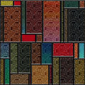 Seamless textured stained glass panel square colorful Stock Photo