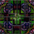 Seamless textured stained medieval pattern glass panel square colorful Stock Photo