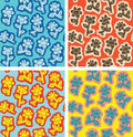 Seamless textures flowers collection four endless floral patterns illustration eps mode Royalty Free Stock Photos