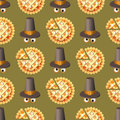 Seamless Thanksgiving day pattern with pumpkin pie and hat. Royalty Free Stock Photo