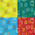 Seamless tiki pattern x colors Royalty Free Stock Photo