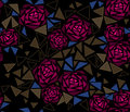 Seamless tile mosaic design pattern with roses background Royalty Free Stock Photo
