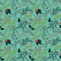 Seamless tileable christmas holiday floral background pattern vector illustration Stock Images