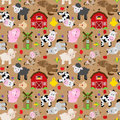 Seamless, Tileable Farm Animal and Barnyard Background Royalty Free Stock Photo