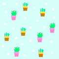 Seamless tileable texture with cactus vector