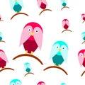 Seamless tileable texture with cartoon birds