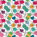 Seamless, Tileable Vector Background with Yarn, Knitting Needles
