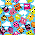 Seamless and tileable vector owl background pattern with clouds raindrops Stock Photo